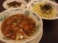 「野菜たっぷりつけ麺と高菜ごはんのセット(700円)+生ビール(3」@日高屋 麹町プリンス通店の写真