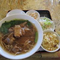 「排骨麺セット(780円)+杏仁豆腐(100円)」@紅龍閣 布佐店の写真