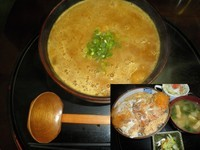 「カレーラーメン500円+カツ丼600円」@おおしも食堂の写真