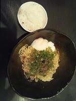 「汁なし担担麺(2辛)+温泉玉子+半ライス」@汁なし担担麺専門 キング軒の写真