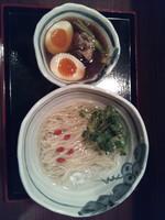 「和風つけめん+半熟煮玉子」@花いちもんめの写真