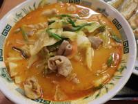「モツ野菜ラーメン+餃子セット」@日高屋 関内伊勢佐木モール店の写真