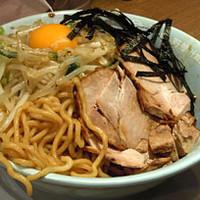 「汁無し豚野郎ラーメン(麺硬め)+大盛100円」@野郎ラーメン 町田店の写真