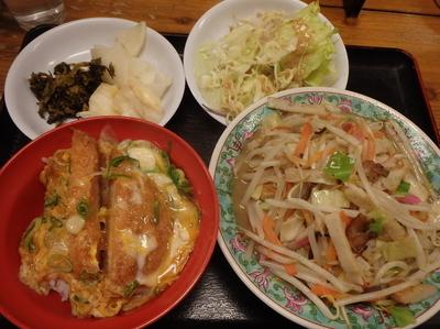「ミニチャンポン(520円)セットのカツ丼(+250円)」@佐賀ラーメン 喰道楽 鳥栖店の写真