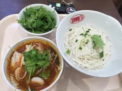 「米麺のトムヤム冷つけ麺+パクチー増し  790+100円」@TINUN 越谷イオンレイクタウン店の写真