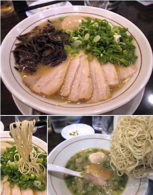 「白ラーメン 800円 + 全部のせ 350円 + 替玉 2玉」@麺ダイニング 福の写真