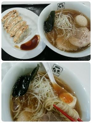 「醤油全部のせ+Aセットギョウザ」@自家製麺 佐野の写真
