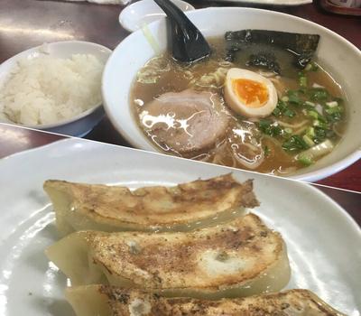 「Aセット(醤油ラーメン+餃子3個+半ライス) ¥780」@一八亭の写真