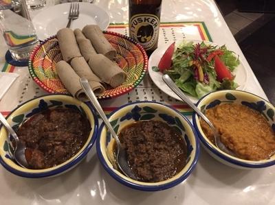 「ヤベグワット/ミンチェット/アタルキック」@QueenSheba Ethiopian Restaurantの写真