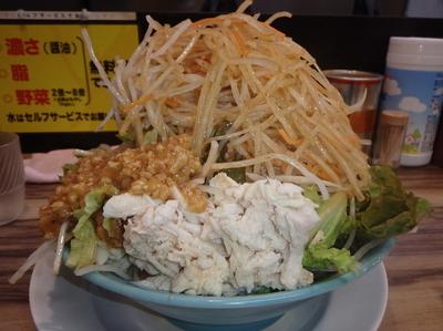「冷やしダントツ中(780円)(野菜4倍、ニンニク)」@ダントツラーメン 岡山一番店 高松観光通りの写真