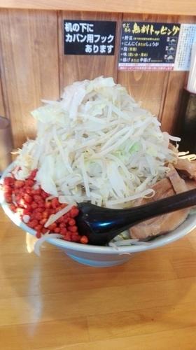 「さぶろうつけ麺 豚マシW ヤサイマシ からあげ」@郎郎郎 八王子店の写真