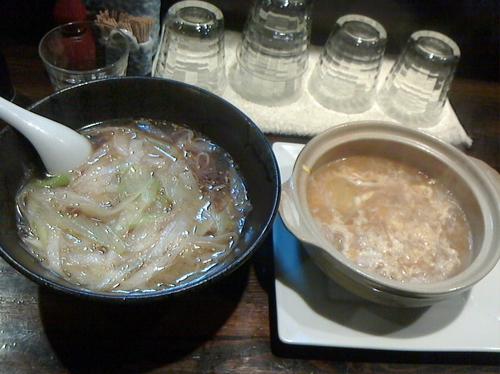 「ネギそばVer2(650円)+玉子雑炊(オプション)(270」@麺工房HIRAMAの写真