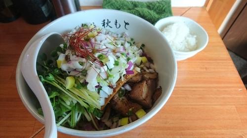 「【限定】鰹油そば(ライス・スープ付)+ねぎ(クーポン)」@麺処 秋もとの写真