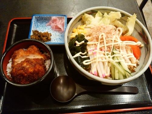 「サラダうどんセット(ミニソースかつ)950円」@登利平 高崎モントレー店の写真