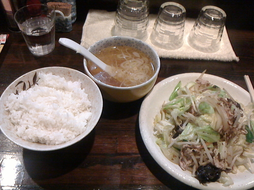 「らぁ麺+野菜炒め定食」@麺工房HIRAMAの写真