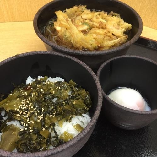 「朝定食Bセット(¥360)+かき揚げ(クーポン)」@ゆで太郎 大森入新井店の写真