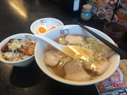 「ミニ炙り焼豚丼とラーメンセット880円」@喜多方ラーメン 坂内 大森店の写真