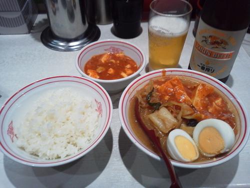 「ビールセット+定食」@蒙古タンメン 中本 川崎店の写真