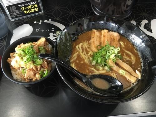 「魚介豚骨らーめん+チャーシュー丼」@麺屋白虎 甲府店の写真