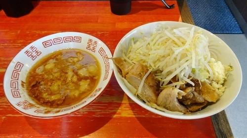 「小つけ麺 エビ味(800円)ニンニク」@ラーメン二郎 会津若松駅前店の写真