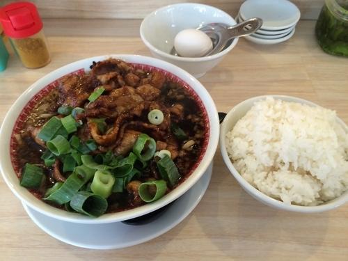 「肉汁麺レベル3+ライス」@肉汁麺ススム 秋葉原本店の写真