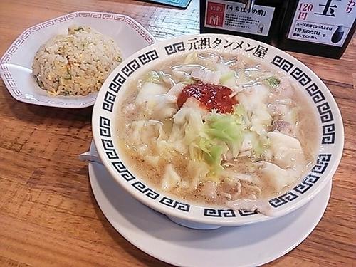 「半チャン(3辛)+野菜増量・肉増量」@元祖 タンメン屋の写真