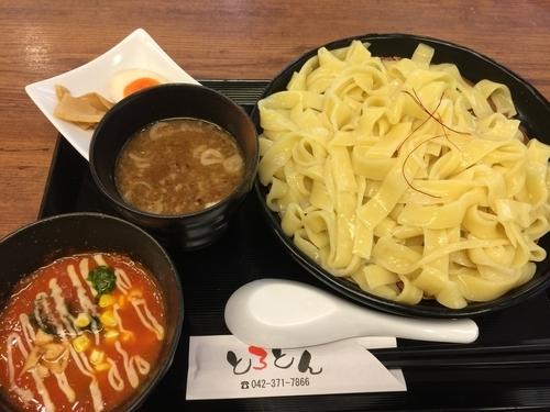 「選べるつけ汁 2種 味付きタマゴ メンマ(大盛)」@カレー・つけ麺 とろとんの写真