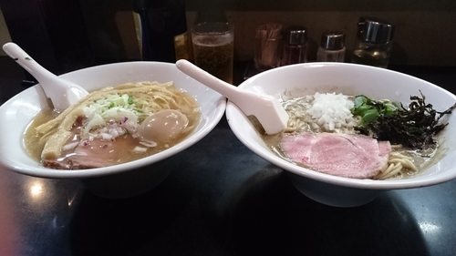 「濃厚そば+塩そば+味玉」@麺処 晴の写真