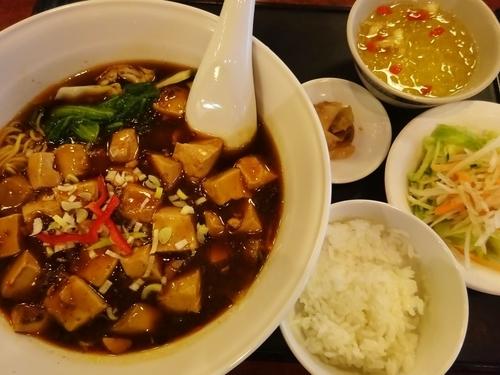 「マーラー湯麺セット 850円 + 無料ランチ食べ放題の愛玉氷」@台南担仔麺 水道橋本店の写真