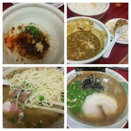「ラーメン(アブラナシコイメ)+替玉+魚の辛そぼろ+カレーご飯」@博多長浜らーめん 楓神の写真