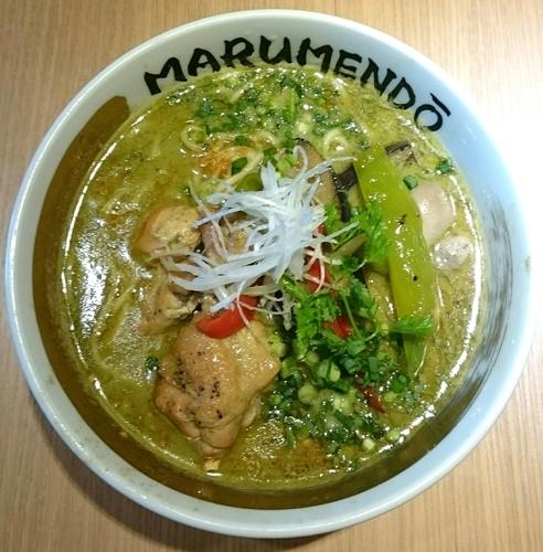 「グリーンカレーヌードル 【限定麺】」@○麺堂の写真