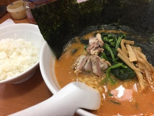 「雷ラーメン 1辛 756円 のり 108円」@麺ロード 大森店の写真