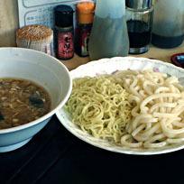 「ダブル肉みそつけ麺450円と それと豚キャベツ炒め定食(ご飯」@食事処 禅の写真