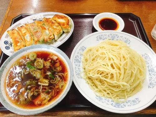 「つけそば(醤油)+餃子♬」@萬栄軒の写真