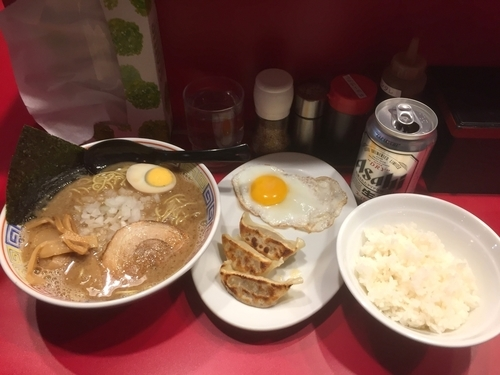 「とんこつ醤油・長浜セット」@長浜らーめん 世田谷店の写真