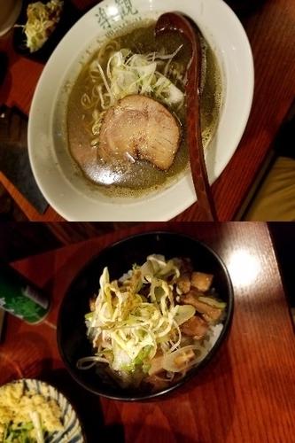 「アルス煮干しらぁめん+チャーシュー丼」@おだし専門店 アルス 南青山の写真