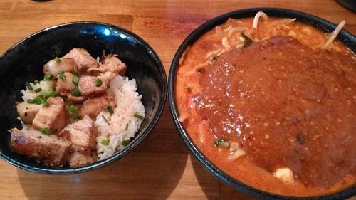 「ランチセット(どて辛めん(中盛無料)、チャーシュー丼)」@どてちん 習志野店の写真