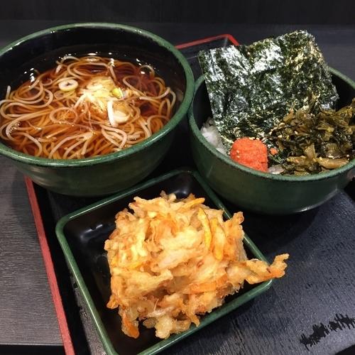 「高菜明太ごはん(¥360)+かき揚げ(クーポン)」@ゆで太郎 西五反田2丁目店の写真
