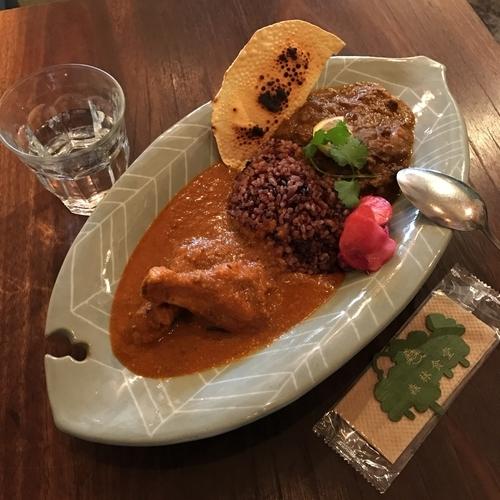 「丹後産猪カレーと長期成熟鶏チキンカレーの合がけ」@森林食堂の写真