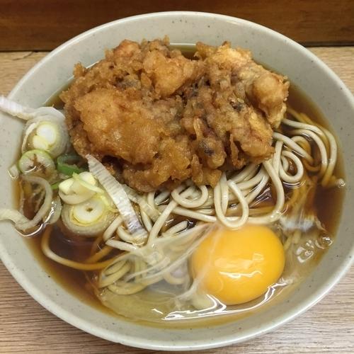 「いかげそ(¥370)+玉子(¥50)」@六文そば 金杉橋店の写真