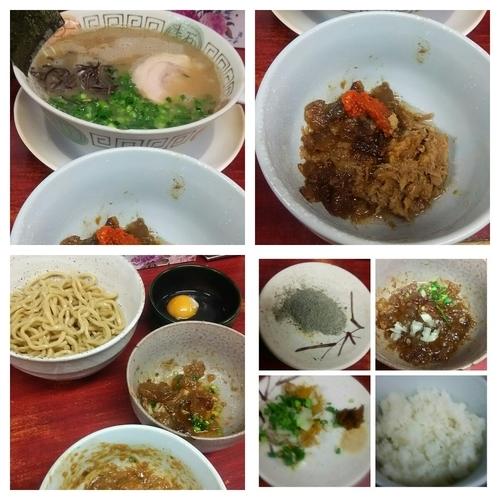 「ラーメン+替玉+かえつけ+魚のトロトロ肉+カレーご飯」@博多長浜らーめん 楓神の写真