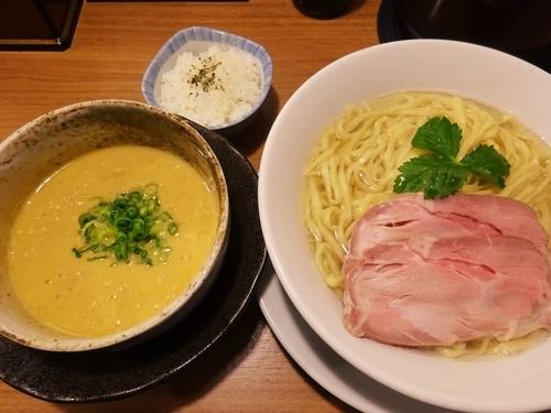 「雲丹つけ麺 ~蟹だし熱盛り仕立て~ チーズ飯付き 1480円」@鯛塩そば 灯花の写真