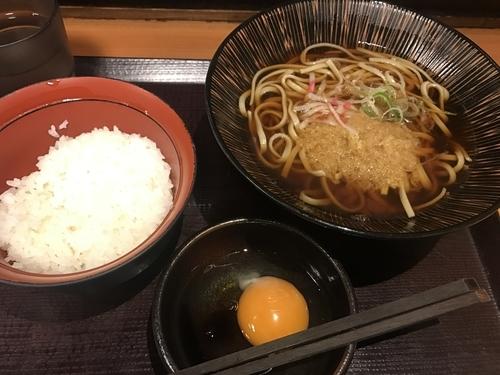 「朝そばセット【TKG】」@蕎麦冷麦  嵯峨谷 渋谷店の写真