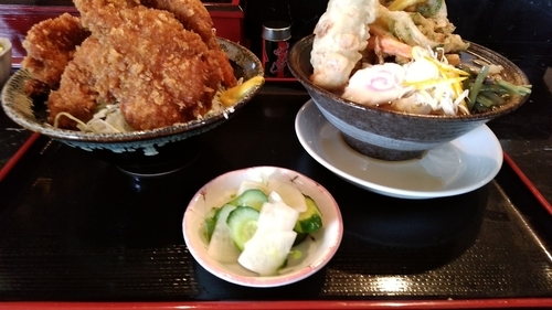 「ソースカツ丼セット(温かいうどん・天ぷら)961円」@まさかの写真