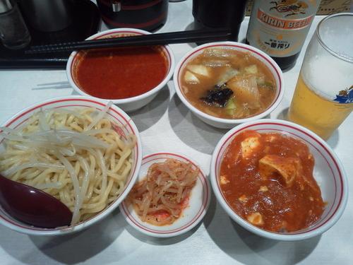 「ビールセット+味噌スープ+プチ蒙古丼」@蒙古タンメン 中本 川崎店の写真