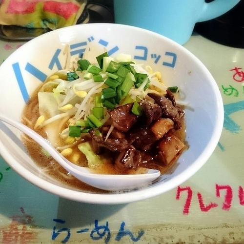 「【限定】特性和牛のギアラ3Dラーメン 900円+チャンジャご」@つけ麺屋 丸孫商店の写真