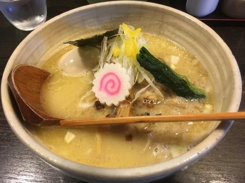 「濃厚白湯鶏そば 全粒粉麺(平打)+味玉」@中華そば 花菱の写真