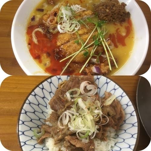 「AKIRA流パーコー坦々麺 +牛スジ丼」@ラーメン専科 竹末食堂の写真