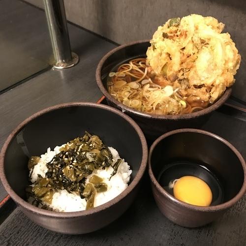 「朝定食B(¥360)+かき揚げ(クーポン)」@ゆで太郎 東邦医大通り店の写真