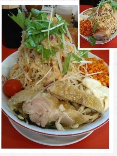 「冷やし中華大(麺マシ500、全マシ)+豚1枚」@鷹の目 獨協大学前本店の写真